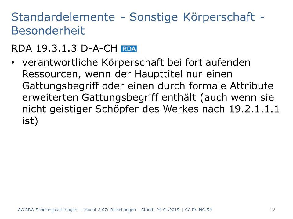 Standardelemente - Sonstige Körperschaft - Besonderheit RDA 19.3.1.3 D-A-CH verantwortliche Körperschaft bei fortlaufenden Ressourcen, wenn der Hauptt