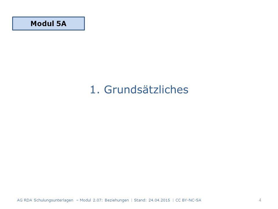 1. Grundsätzliches Modul 5A 4 AG RDA Schulungsunterlagen – Modul 2.07: Beziehungen   Stand: 24.04.2015   CC BY-NC-SA