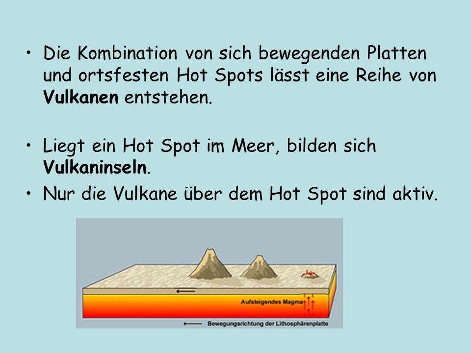 Die Kombination von sich bewegenden Platten und ortsfesten Hot Spots lässt eine Reihe von Vulkanen entstehen. Liegt ein Hot Spot im Meer, bilden sich
