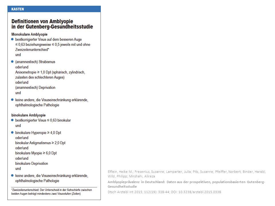 Elflein, Heike M.; Fresenius, Susanne; Lamparter, Julia; Pitz, Susanne; Pfeiffer, Norbert; Binder, Harald; Wild, Philipp; Mirshahi, Alireza Amblyopieprävalenz in Deutschland: Daten aus der prospektiven, populationsbasierten Gutenberg- Gesundheitsstudie Dtsch Arztebl Int 2015; 112(19): 338-44; DOI: 10.3238/arztebl.2015.0338