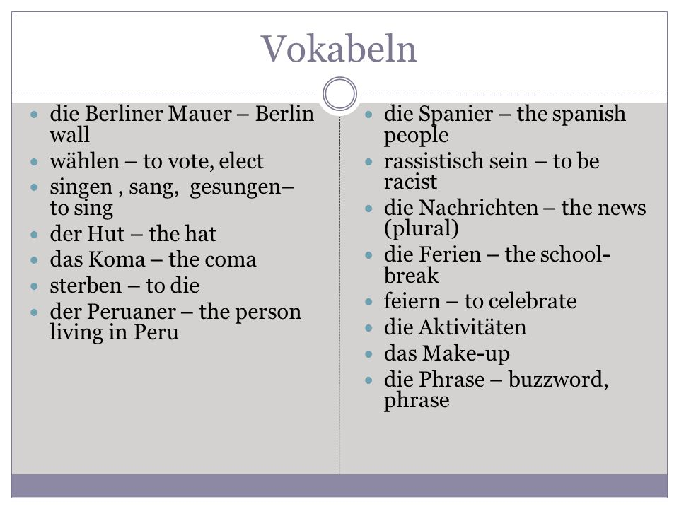 Vokabeln die Berliner Mauer – Berlin wall wählen – to vote, elect singen, sang, gesungen– to sing der Hut – the hat das Koma – the coma sterben – to die der Peruaner – the person living in Peru die Spanier – the spanish people rassistisch sein – to be racist die Nachrichten – the news (plural) die Ferien – the school- break feiern – to celebrate die Aktivitäten das Make-up die Phrase – buzzword, phrase