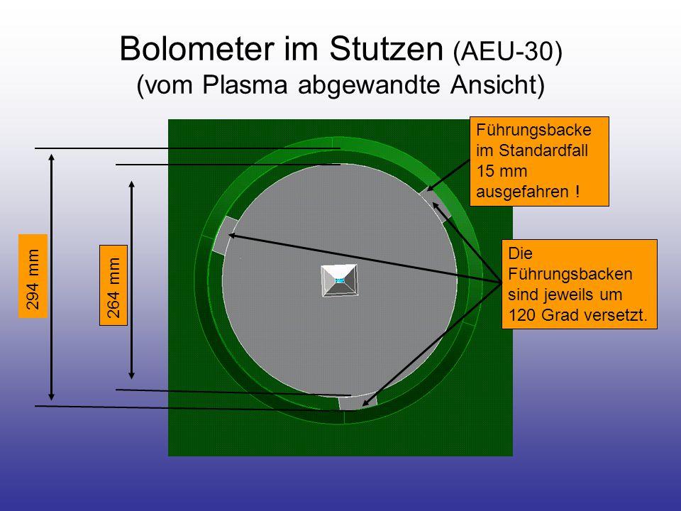 Bolometer im Stutzen (AEU-30) (vom Plasma abgewandte Ansicht) Die Führungsbacken sind jeweils um 120 Grad versetzt.