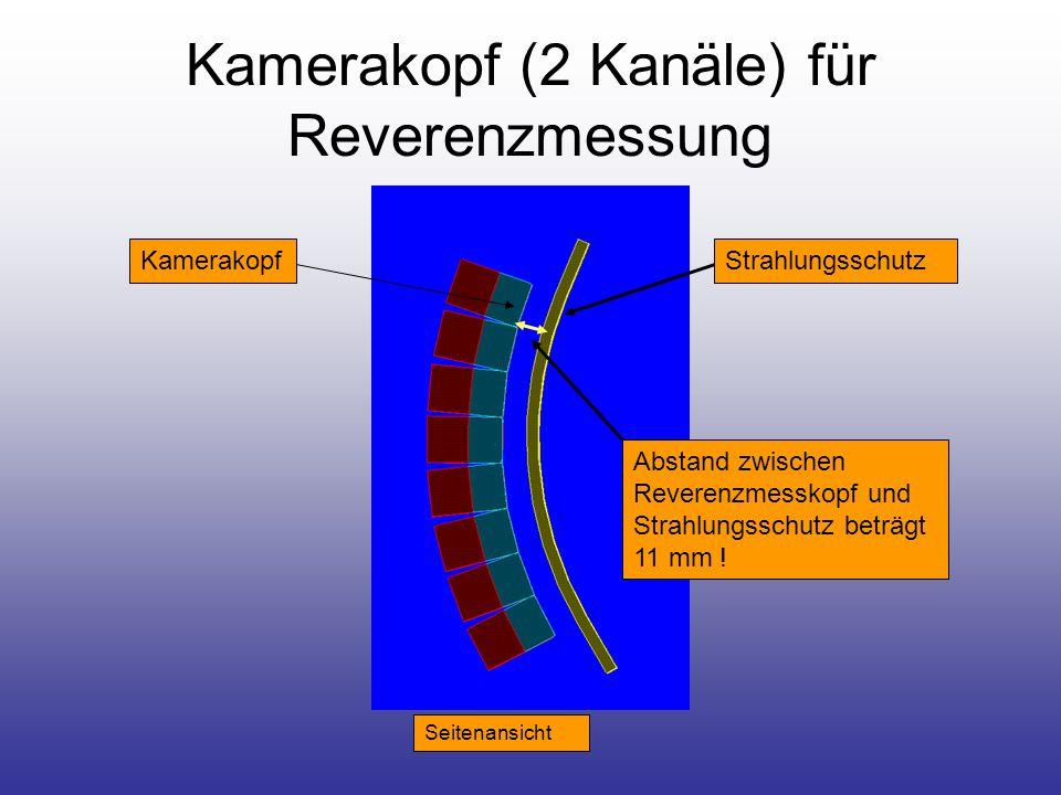 Kamerakopf (2 Kanäle) für Reverenzmessung Seitenansicht StrahlungsschutzKamerakopf Abstand zwischen Reverenzmesskopf und Strahlungsschutz beträgt 11 mm !