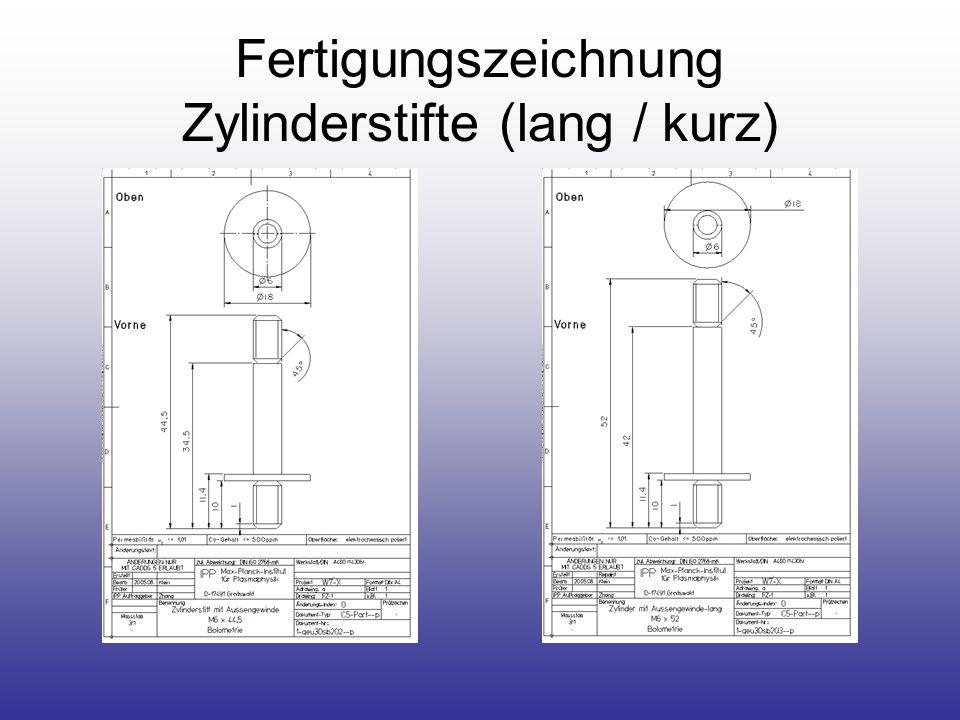 Fertigungszeichnung Zylinderstifte (lang / kurz)