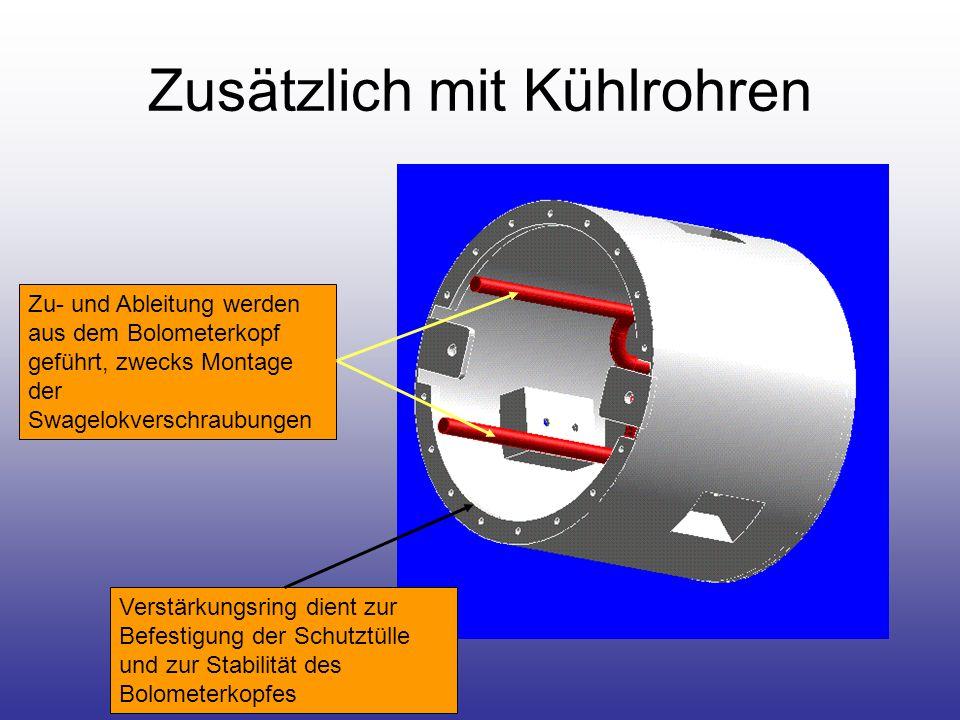 Zusätzlich mit Kühlrohren Zu- und Ableitung werden aus dem Bolometerkopf geführt, zwecks Montage der Swagelokverschraubungen Verstärkungsring dient zur Befestigung der Schutztülle und zur Stabilität des Bolometerkopfes