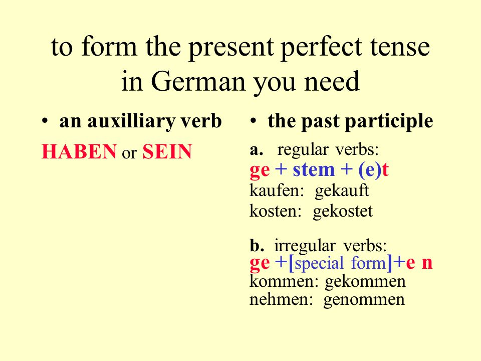 Perfekt mit sein The use of the auxiliary verb sein with the past participle Some German verbs use sein rather than haben as their auxiliary verb in the present perfect tense: –Sie ist gestern nach Halifax gefahren.