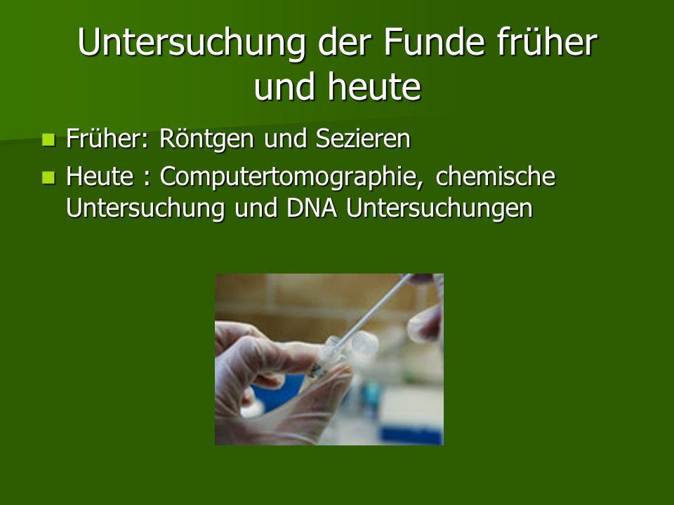 Untersuchung der Funde früher und heute Früher: Röntgen und Sezieren Früher: Röntgen und Sezieren Heute : Computertomographie, chemische Untersuchung