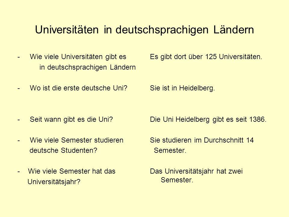 Universitäten in deutschsprachigen Ländern - Wie viele Universitäten gibt es in deutschsprachigen Ländern - Wo ist die erste deutsche Uni? - Seit wann