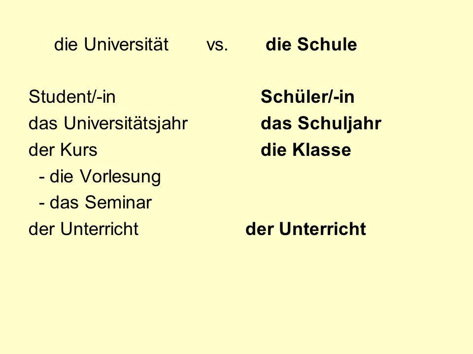 die Universität vs. die Schule Student/-in das Universitätsjahr der Kurs - die Vorlesung - das Seminar der Unterricht Schüler/-in das Schuljahr die Kl
