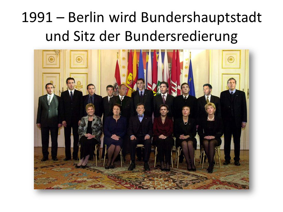 1991 – Berlin wird Bundershauptstadt und Sitz der Bundersredierung