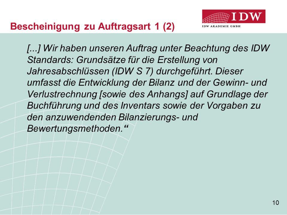 10 Bescheinigung zu Auftragsart 1 (2) [...] Wir haben unseren Auftrag unter Beachtung des IDW Standards: Grundsätze für die Erstellung von Jahresabsch