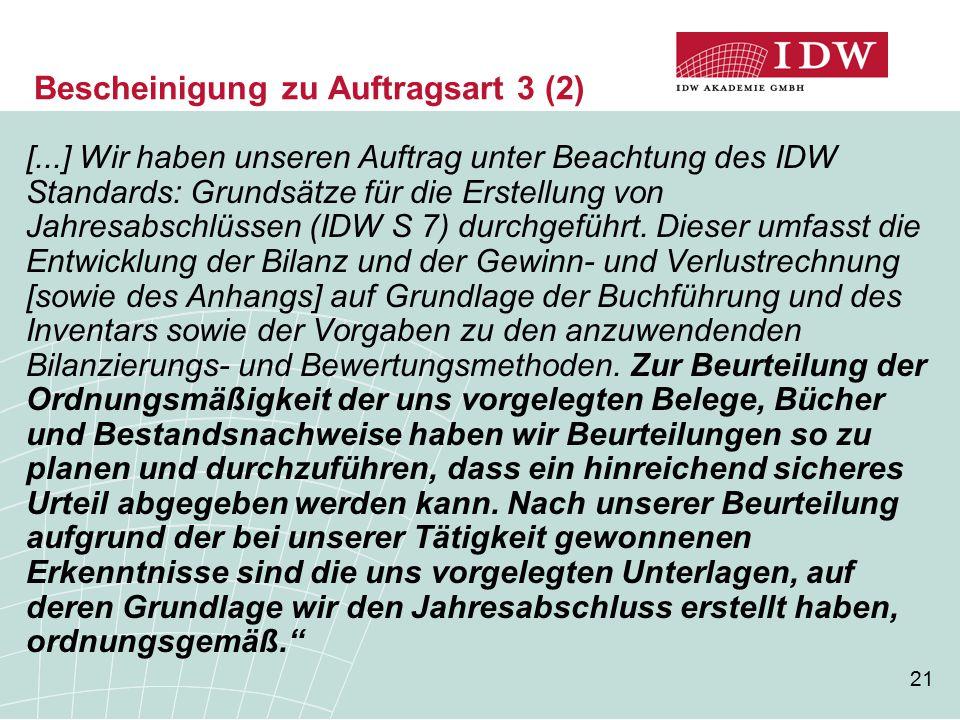 21 Bescheinigung zu Auftragsart 3 (2) [...] Wir haben unseren Auftrag unter Beachtung des IDW Standards: Grundsätze für die Erstellung von Jahresabsch