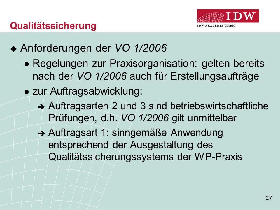 27 Qualitätssicherung  Anforderungen der VO 1/2006 Regelungen zur Praxisorganisation: gelten bereits nach der VO 1/2006 auch für Erstellungsaufträge