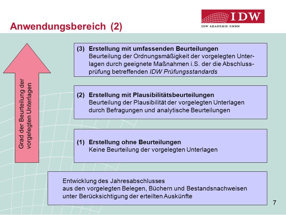 18 Bescheinigung zu Auftragsart 2 bei Mitwirkung an der Buchführung (2) [...] Wir haben unseren Auftrag unter Beachtung des IDW Standards: Grundsätze für die Erstellung von Jahresabschlüssen (IDW S 7) durchgeführt.