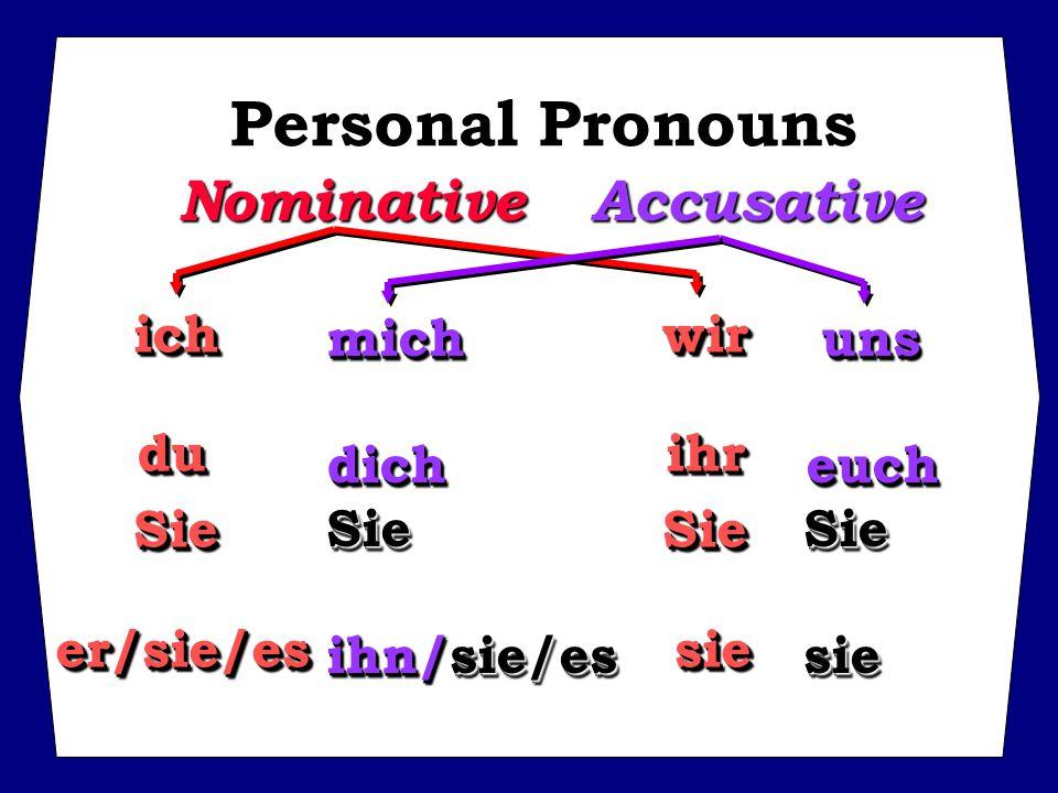 ichwir duihr SieSie er/sie/es sie ichwir duihr SieSie er/sie/es sie Personal Pronouns NominativeAccusative mich uns dich euch Sie Sie ihn/sie/es sie mich uns dich euch Sie Sie ihn/sie/es sie