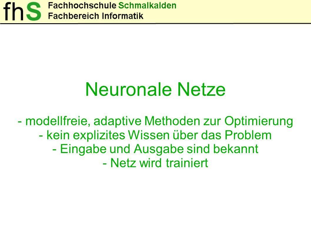 """Neuronale Netze Ein Neuronales Netze """"lernt durch: - Anpassen der Gewichte - Anpassen der Schwellwerte - Hinzufügen oder Löschen von Verbindungen"""
