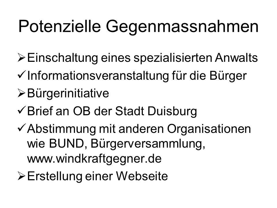 Potenzielle Gegenmassnahmen  Einschaltung eines spezialisierten Anwalts Informationsveranstaltung für die Bürger  Bürgerinitiative Brief an OB der S