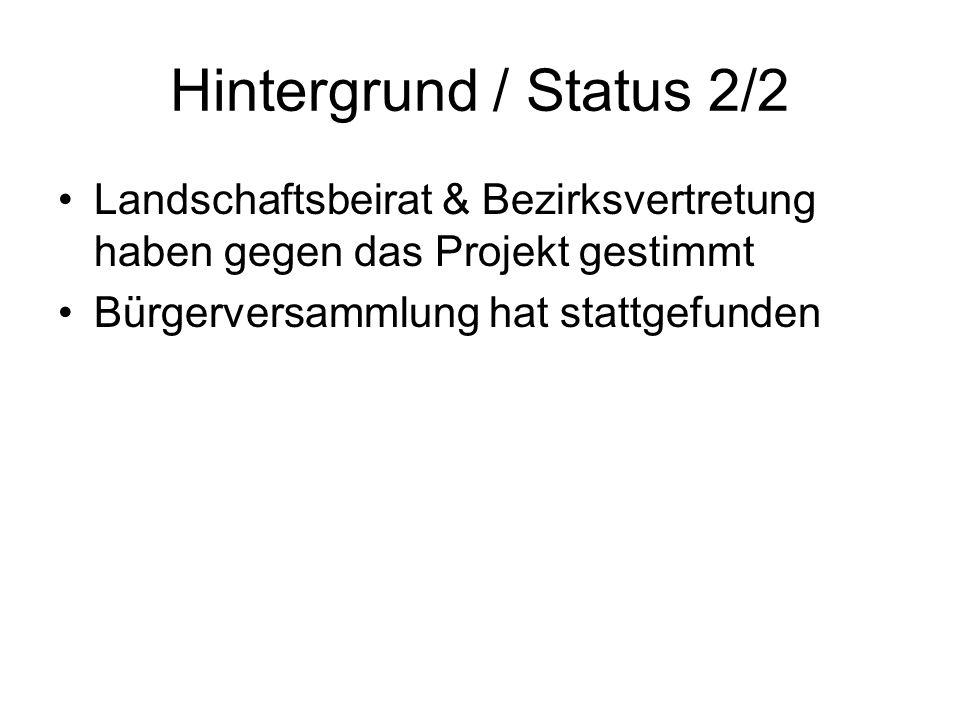 Hintergrund / Status 2/2 Landschaftsbeirat & Bezirksvertretung haben gegen das Projekt gestimmt Bürgerversammlung hat stattgefunden