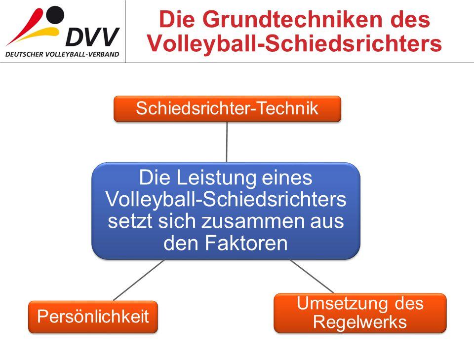 Die Grundtechniken des Volleyball-Schiedsrichters Die Leistung eines Volleyball-Schiedsrichters setzt sich zusammen aus den Faktoren Schiedsrichter-Technik Umsetzung des Regelwerks Persönlichkeit