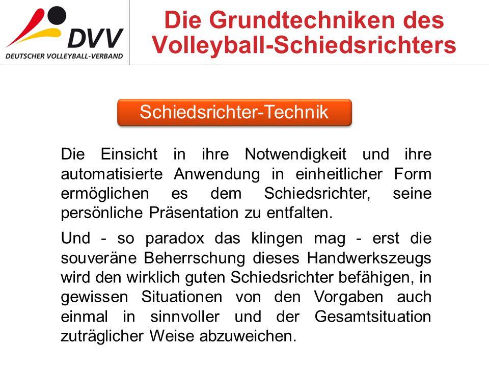 Die Grundtechniken des Volleyball-Schiedsrichters Die Einsicht in ihre Notwendigkeit und ihre automatisierte Anwendung in einheitlicher Form ermöglichen es dem Schiedsrichter, seine persönliche Präsentation zu entfalten.