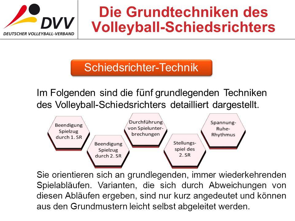 Die Grundtechniken des Volleyball-Schiedsrichters Im Folgenden sind die fünf grundlegenden Techniken des Volleyball-Schiedsrichters detailliert dargestellt.