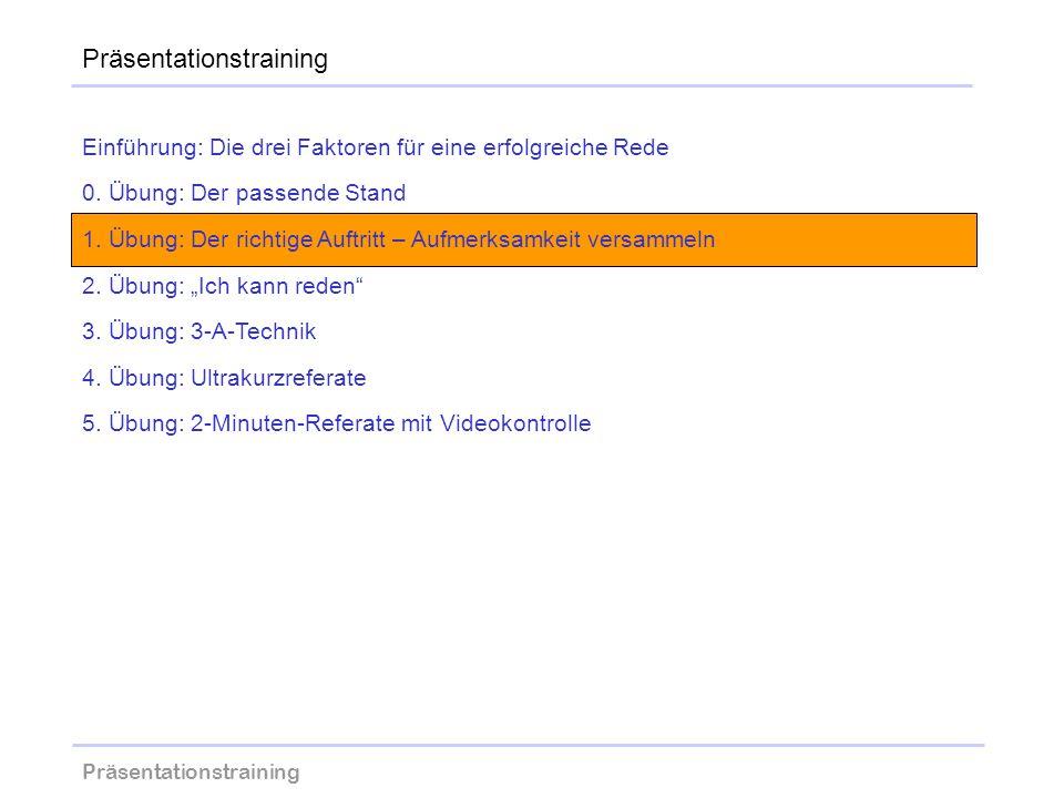 Präsentationstraining wolfram-thom.de Einführung: Die drei Faktoren für eine erfolgreiche Rede 0. Übung: Der passende Stand 1. Übung: Der richtige Auf