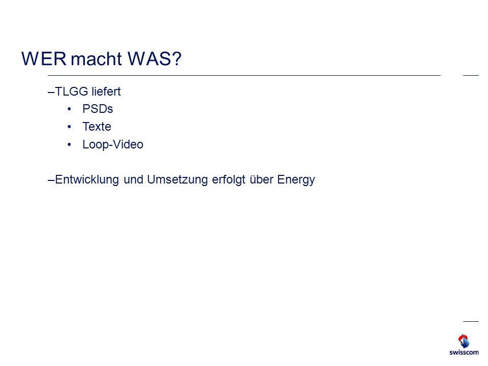 WER macht WAS –TLGG liefert PSDs Texte Loop-Video –Entwicklung und Umsetzung erfolgt über Energy