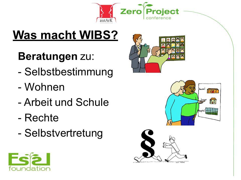 Was macht WIBS? Beratungen zu: - Selbstbestimmung - Wohnen - Arbeit und Schule - Rechte - Selbstvertretung