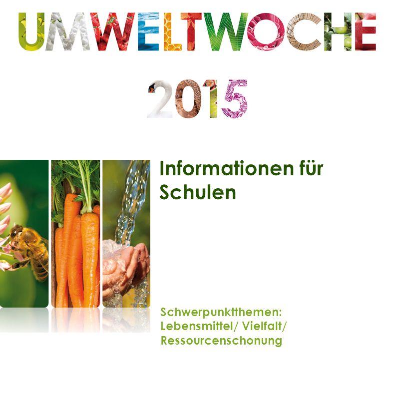 Informationen für Schulen Schwerpunktthemen: Lebensmittel/ Vielfalt/ Ressourcenschonung