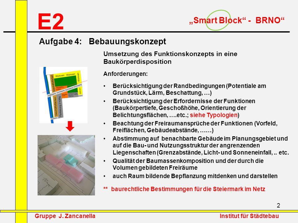 """2 E2 """"Smart Block"""" - BRNO"""" Umsetzung des Funktionskonzepts in eine Baukörperdisposition Anforderungen: Berücksichtigung der Randbedingungen (Potential"""