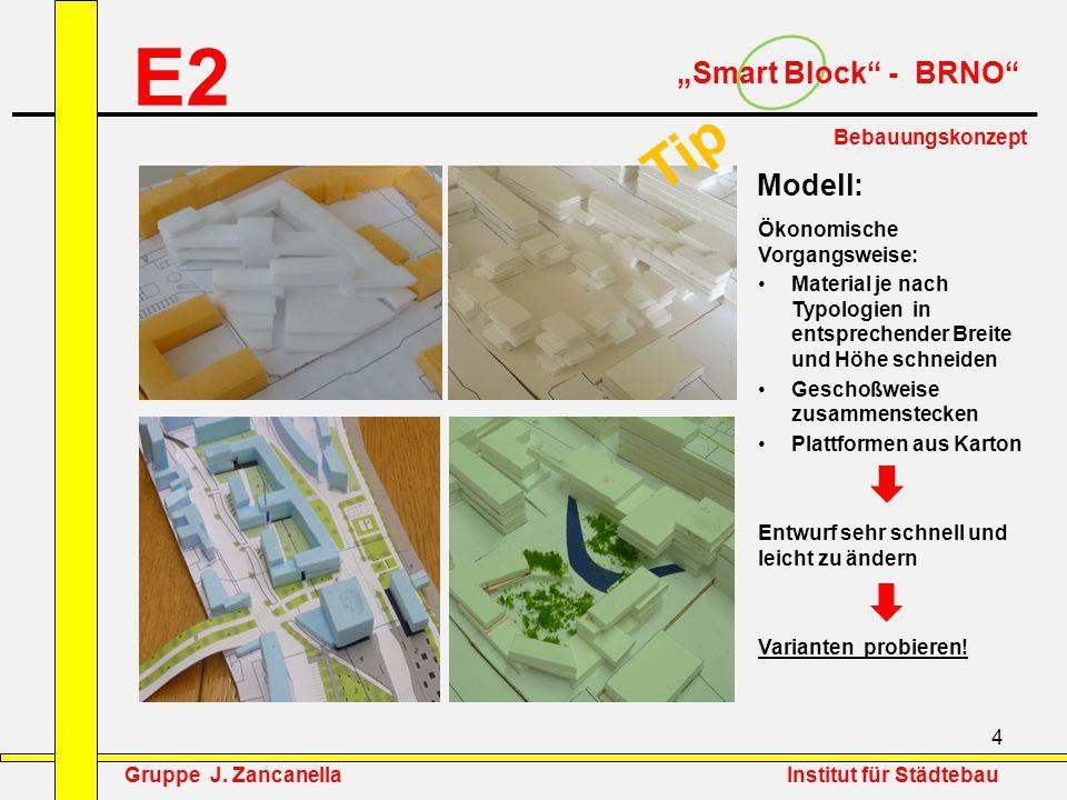 """4 E2 """"Smart Block"""" - BRNO"""" Bebauungskonzept Ökonomische Vorgangsweise: Material je nach Typologien in entsprechender Breite und Höhe schneiden Geschoß"""