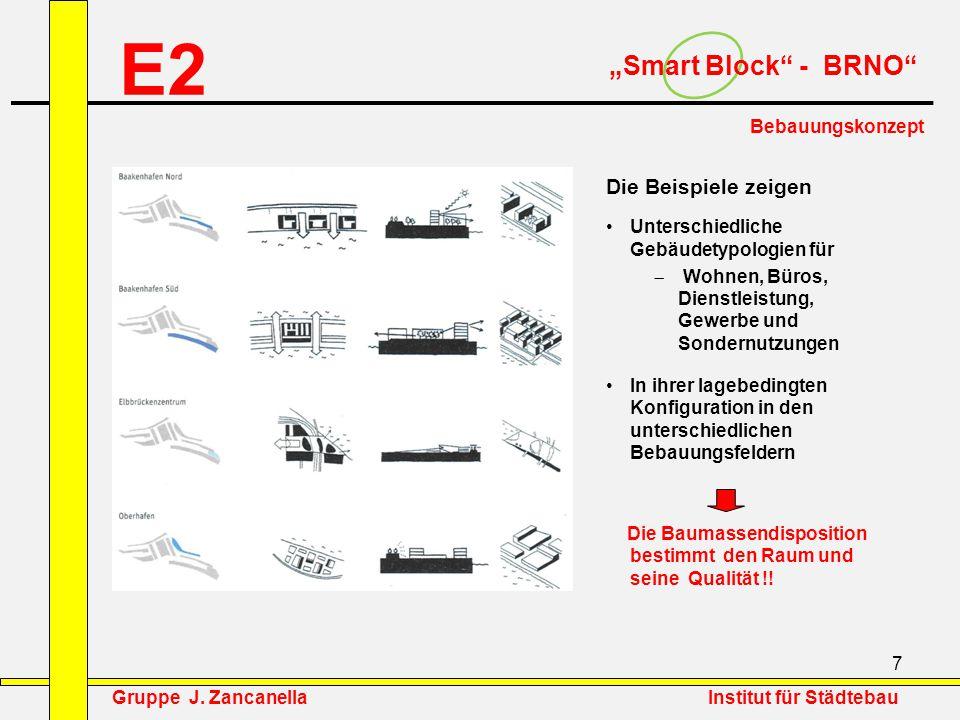 """8 E2 """"Smart Block - BRNO Bebauungskonzept Baumassentypologien Wohnbau Punkt(hoch)haus Zeile Scheibe Blockrandbebauung Blockrandbebauung offen Blockrandbebauung """"Kombination Gruppe J."""