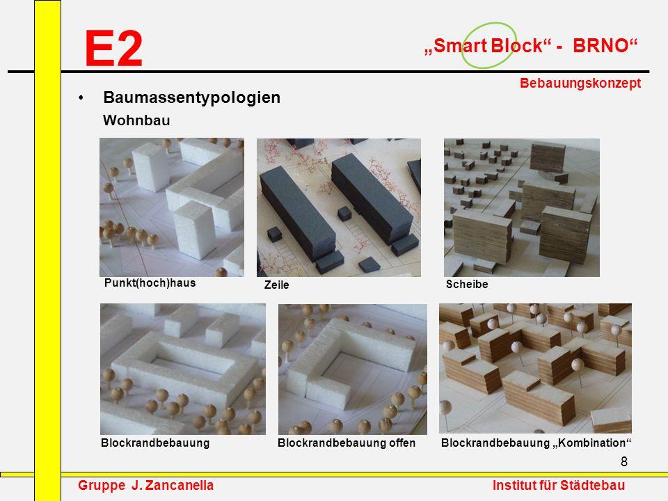 """8 E2 """"Smart Block"""" - BRNO"""" Bebauungskonzept Baumassentypologien Wohnbau Punkt(hoch)haus Zeile Scheibe Blockrandbebauung Blockrandbebauung offen Blockr"""