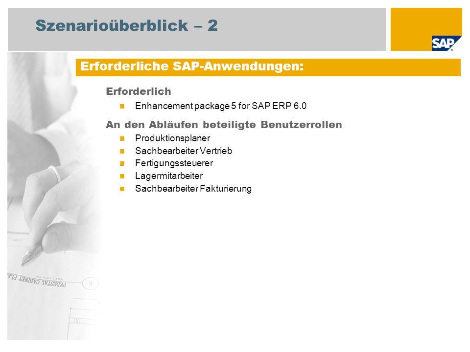 Szenarioüberblick – 2 Erforderlich Enhancement package 5 for SAP ERP 6.0 An den Abläufen beteiligte Benutzerrollen Produktionsplaner Sachbearbeiter Ve