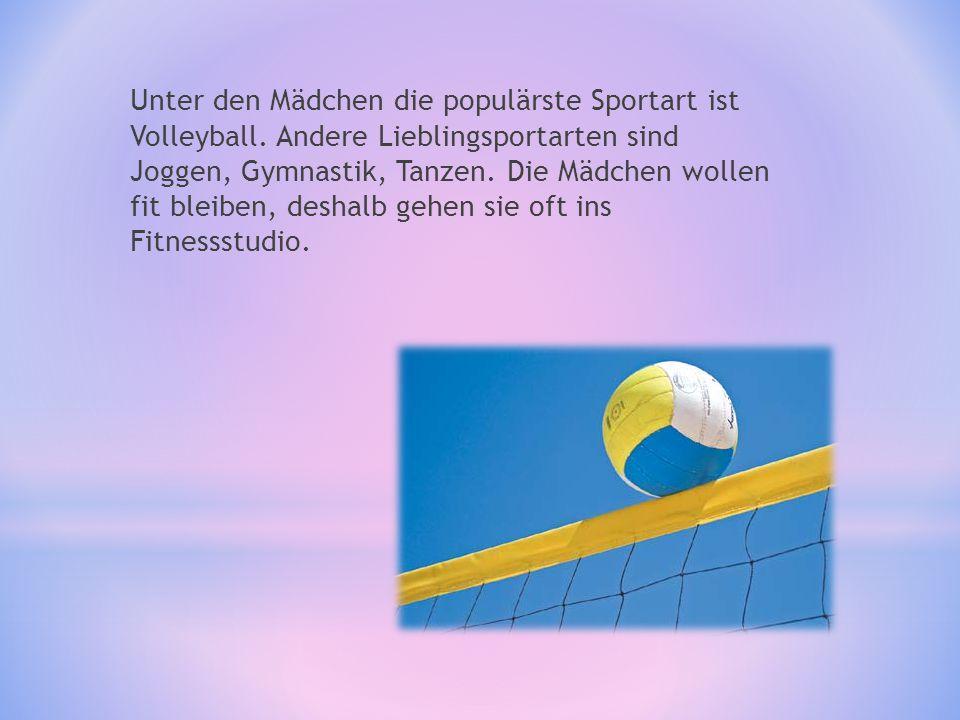 Im Sportunterricht spielen sie Teamsspielen: - Volleyball - Fu β ball - Schlagball Die besten Schüler nehmen an verschiedenen Schulturnieren teil.