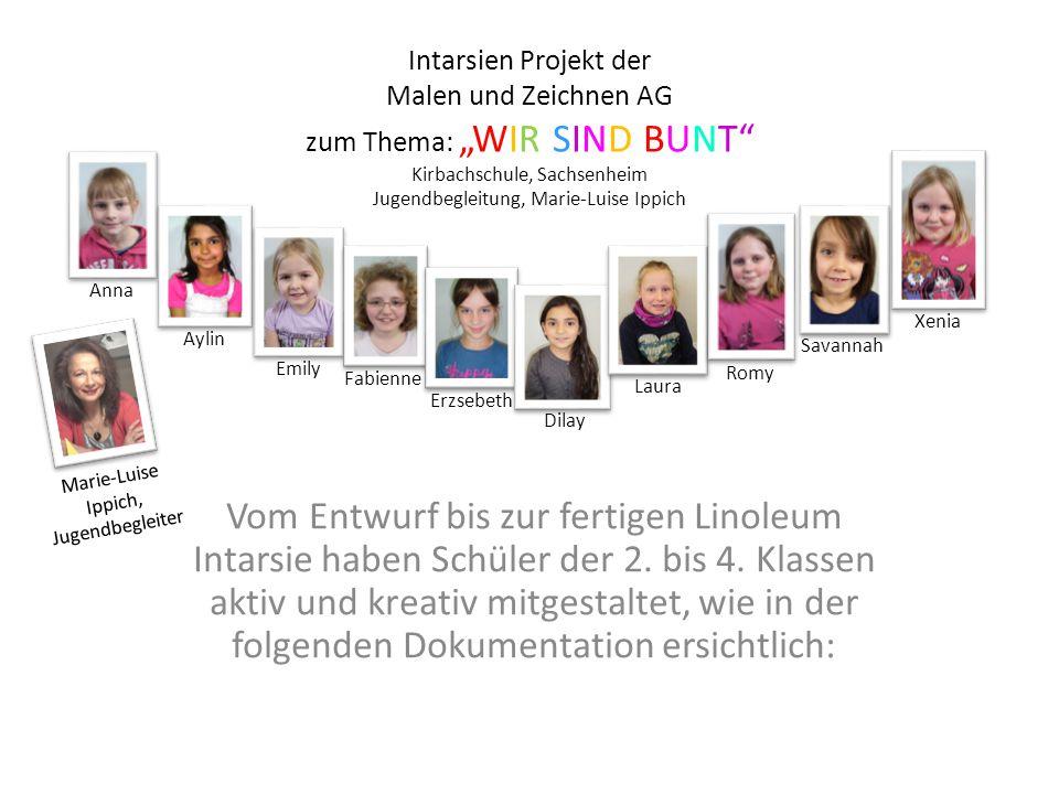 """Intarsien Projekt der Malen und Zeichnen AG zum Thema: """"WIR SIND BUNT"""" Kirbachschule, Sachsenheim Jugendbegleitung, Marie-Luise Ippich Vom Entwurf bis"""