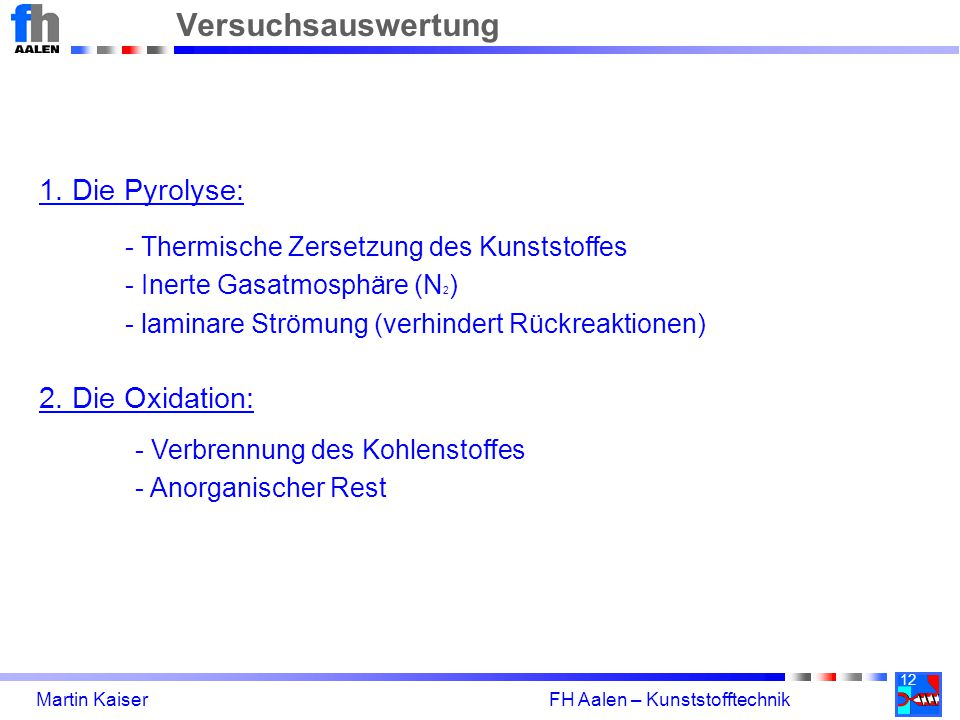 12 Martin Kaiser FH Aalen – Kunststofftechnik Versuchsauswertung 1.