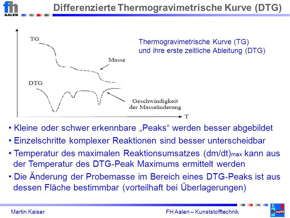 """6 Martin Kaiser FH Aalen – Kunststofftechnik Differenzierte Thermogravimetrische Kurve (DTG) Kleine oder schwer erkennbare """"Peaks werden besser abgebildet Einzelschritte komplexer Reaktionen sind besser unterscheidbar Temperatur des maximalen Reaktionsumsatzes (dm/dt) max kann aus der Temperatur des DTG-Peak Maximums ermittelt werden Die Änderung der Probemasse im Bereich eines DTG-Peaks ist aus dessen Fläche bestimmbar (vorteilhaft bei Überlagerungen) Thermogravimetrische Kurve (TG) und ihre erste zeitliche Ableitung (DTG)"""