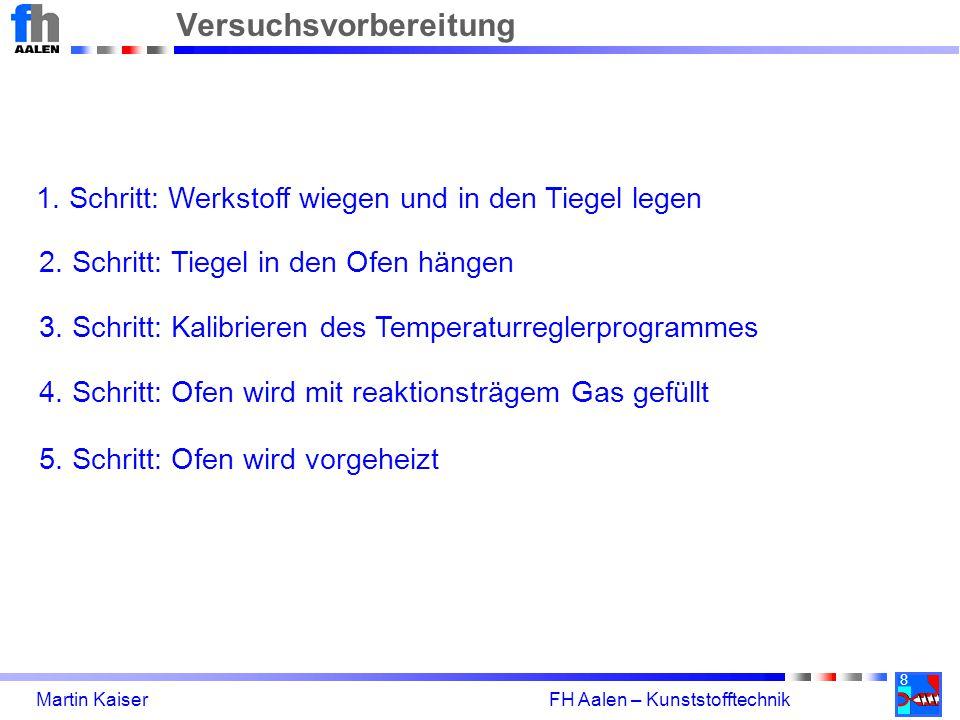 8 Martin Kaiser FH Aalen – Kunststofftechnik Versuchsvorbereitung 1. Schritt: Werkstoff wiegen und in den Tiegel legen 2. Schritt: Tiegel in den Ofen