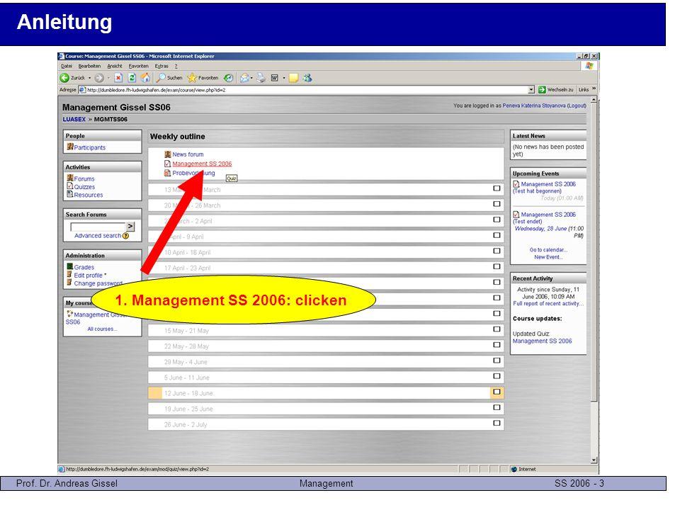Prof. Dr. Andreas GisselManagement SS 2006 - 4 Anleitung 1. Attempt quiz now: clicken