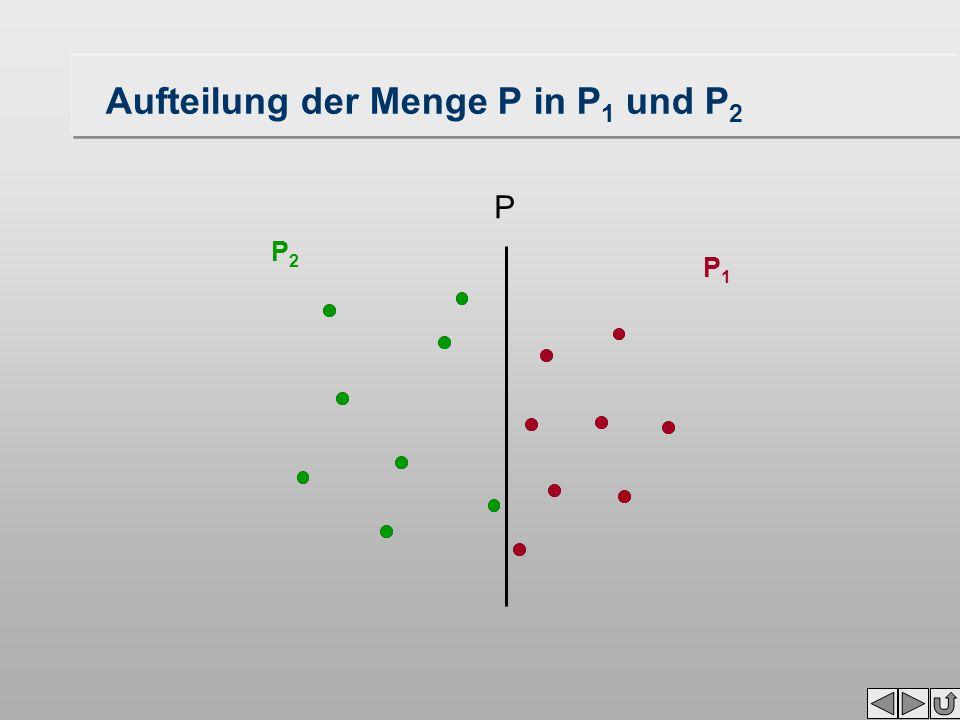 P1P1 P2P2 Aufteilung der Menge P in P 1 und P 2 P