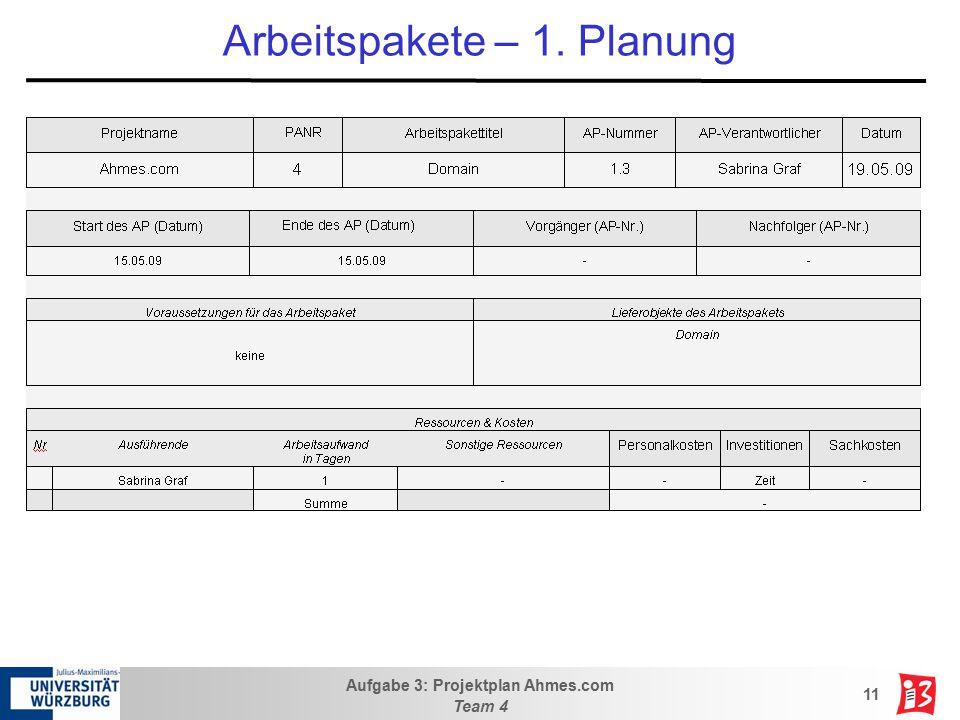 Aufgabe 3: Projektplan Ahmes.com Team 4 11 Arbeitspakete – 1. Planung