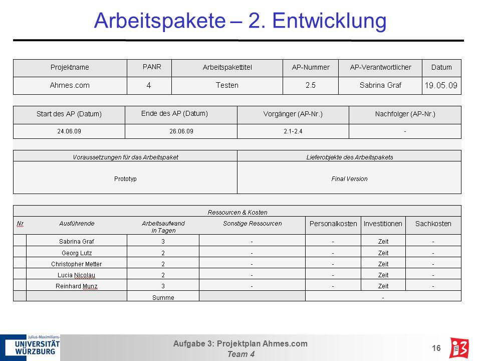 Aufgabe 3: Projektplan Ahmes.com Team 4 16 Arbeitspakete – 2. Entwicklung