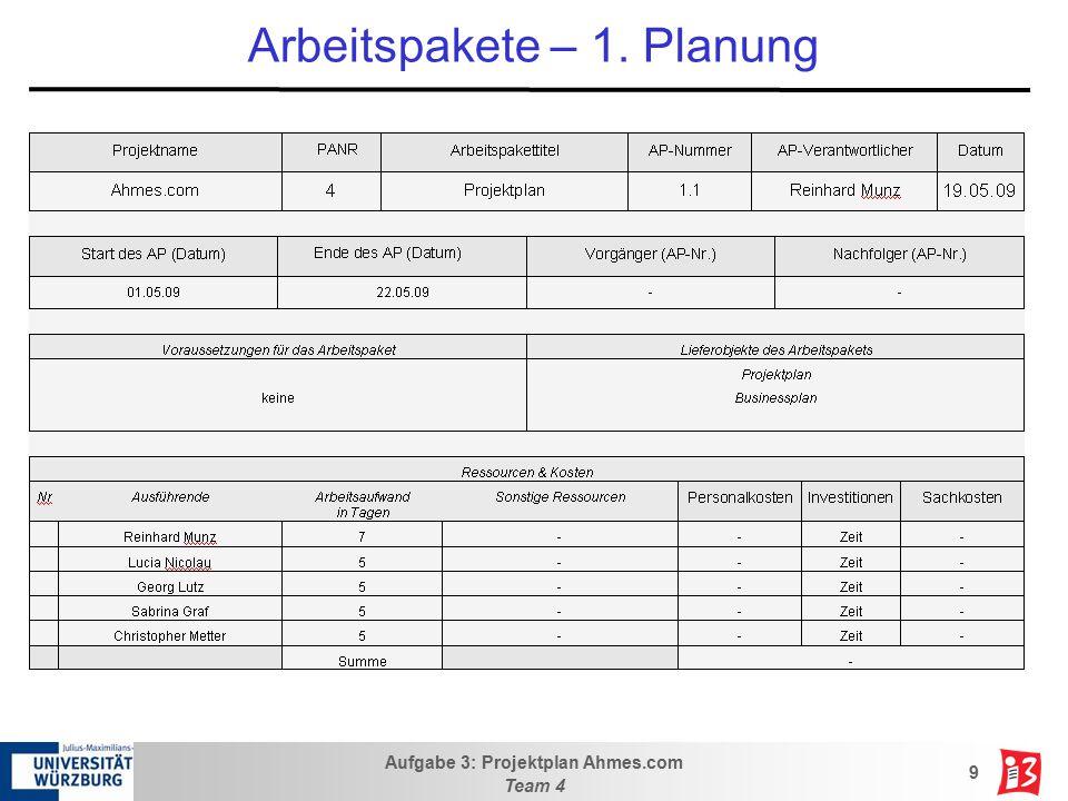 Aufgabe 3: Projektplan Ahmes.com Team 4 9 Arbeitspakete – 1. Planung