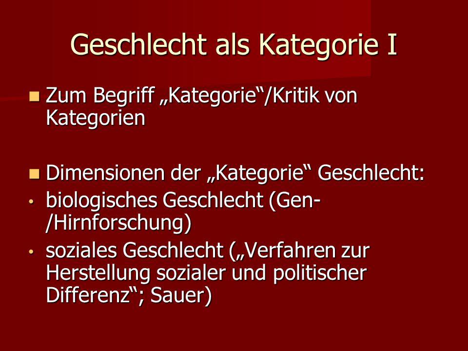"""Geschlecht als Kategorie I Zum Begriff """"Kategorie""""/Kritik von Kategorien Zum Begriff """"Kategorie""""/Kritik von Kategorien Dimensionen der """"Kategorie"""" Ges"""