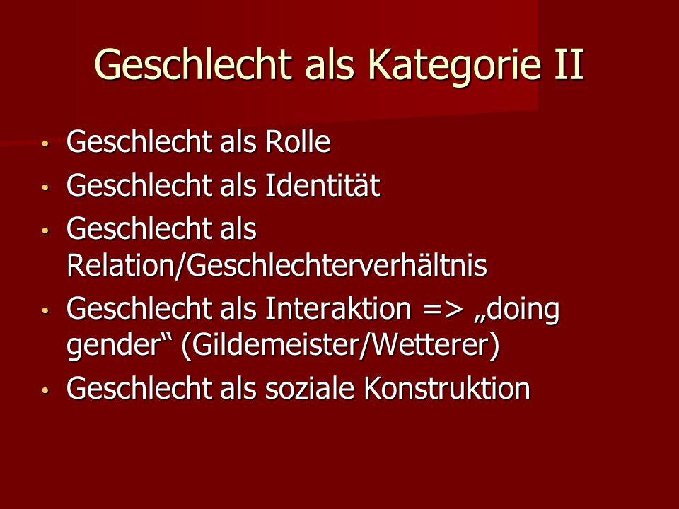 Geschlecht als Kategorie II Geschlecht als Rolle Geschlecht als Rolle Geschlecht als Identität Geschlecht als Identität Geschlecht als Relation/Geschl