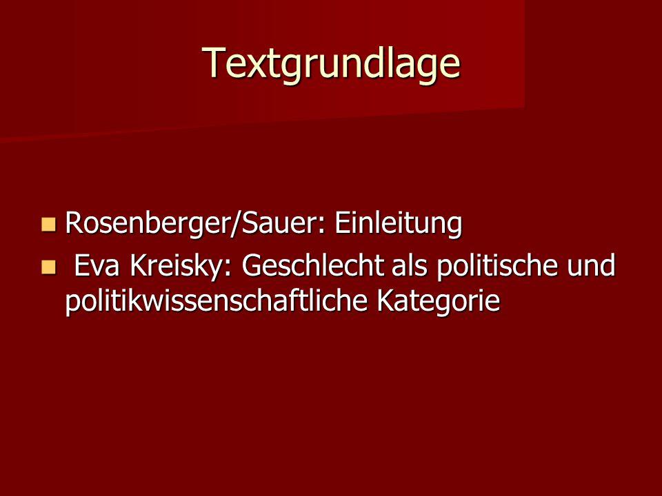 Textgrundlage Rosenberger/Sauer: Einleitung Rosenberger/Sauer: Einleitung Eva Kreisky: Geschlecht als politische und politikwissenschaftliche Kategori