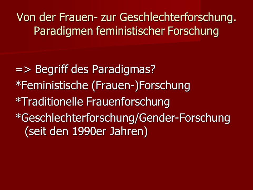 Von der Frauen- zur Geschlechterforschung. Paradigmen feministischer Forschung => Begriff des Paradigmas? *Feministische (Frauen-)Forschung *Tradition