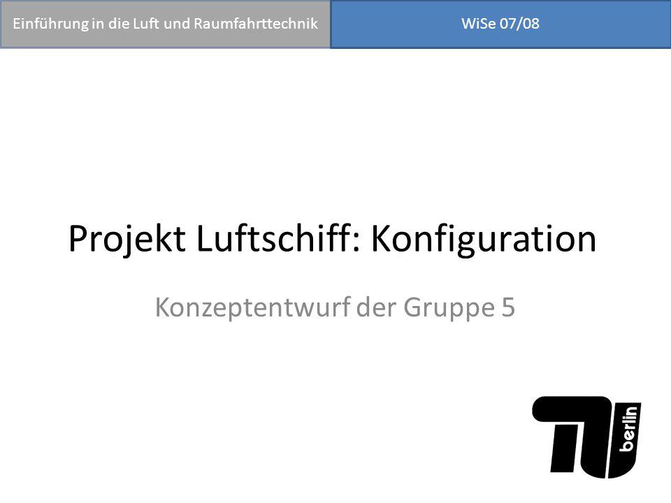 Projekt Luftschiff: Konfiguration Konzeptentwurf der Gruppe 5 Einführung in die Luft und RaumfahrttechnikWiSe 07/08