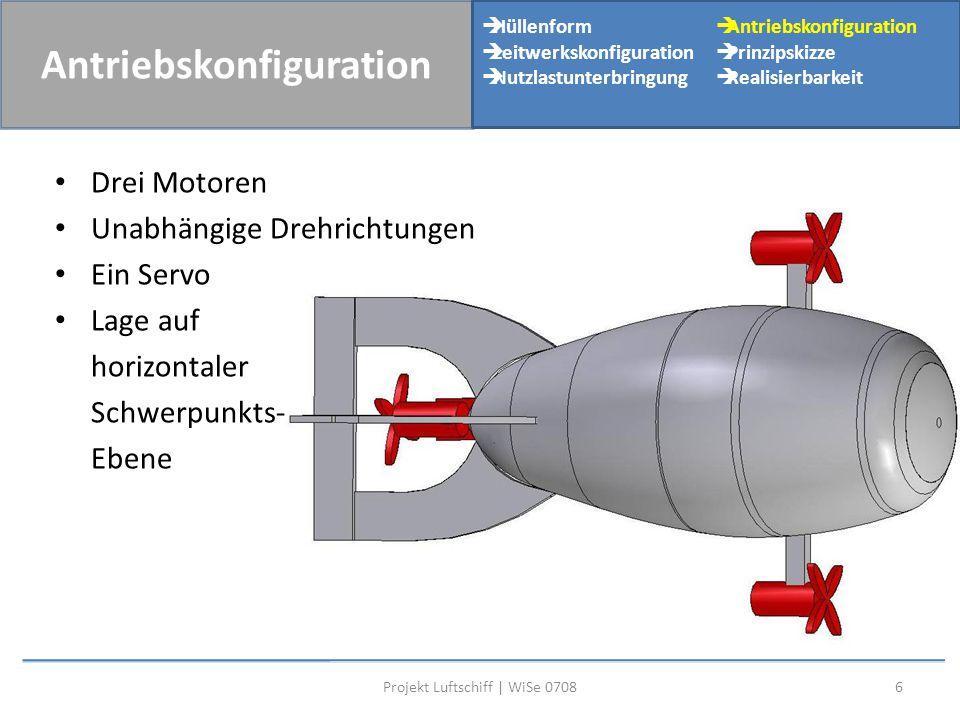 Drei Motoren Unabhängige Drehrichtungen Ein Servo Lage auf horizontaler Schwerpunkts- Ebene 6Projekt Luftschiff | WiSe 0708 Antriebskonfiguration  Hü